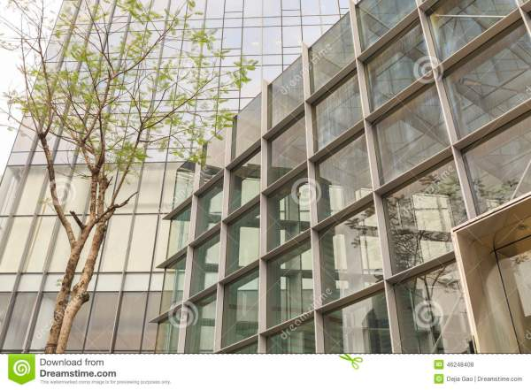 Facade Of Modern Office Building With Glass Wall Business