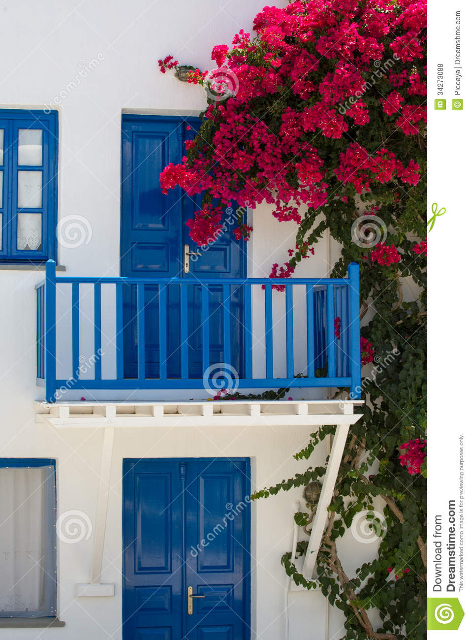 Facade Of A Typical Bleu And White Greek House Royalty