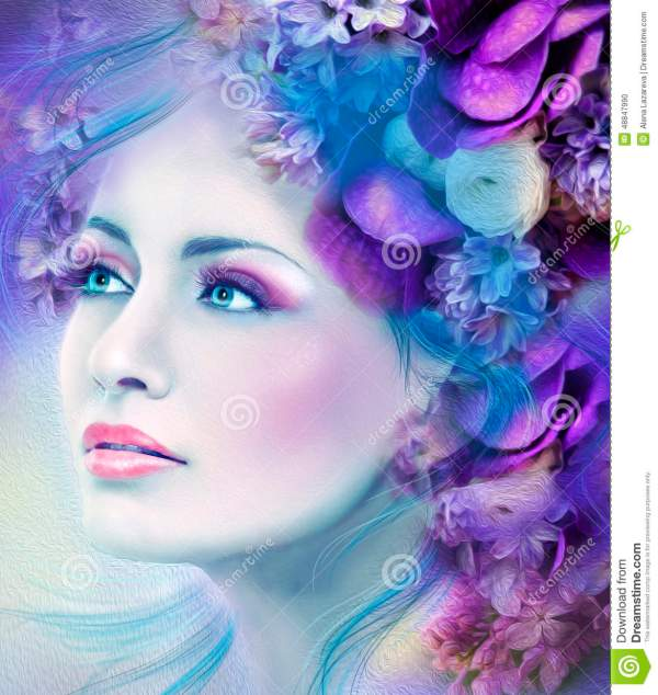 Face Of Fantasy Beautiful Woman With Blue Lilac Flower Stock Illustration