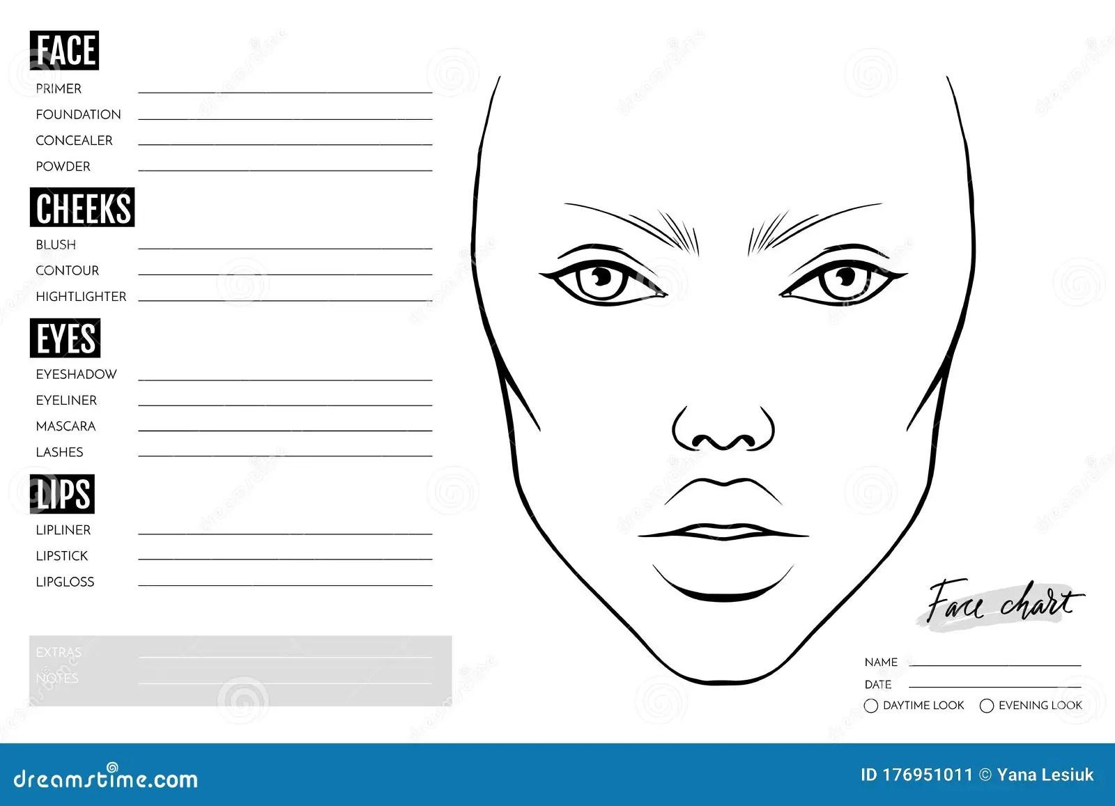 Face Chart Blank Makeup Artist Vector Template Stock
