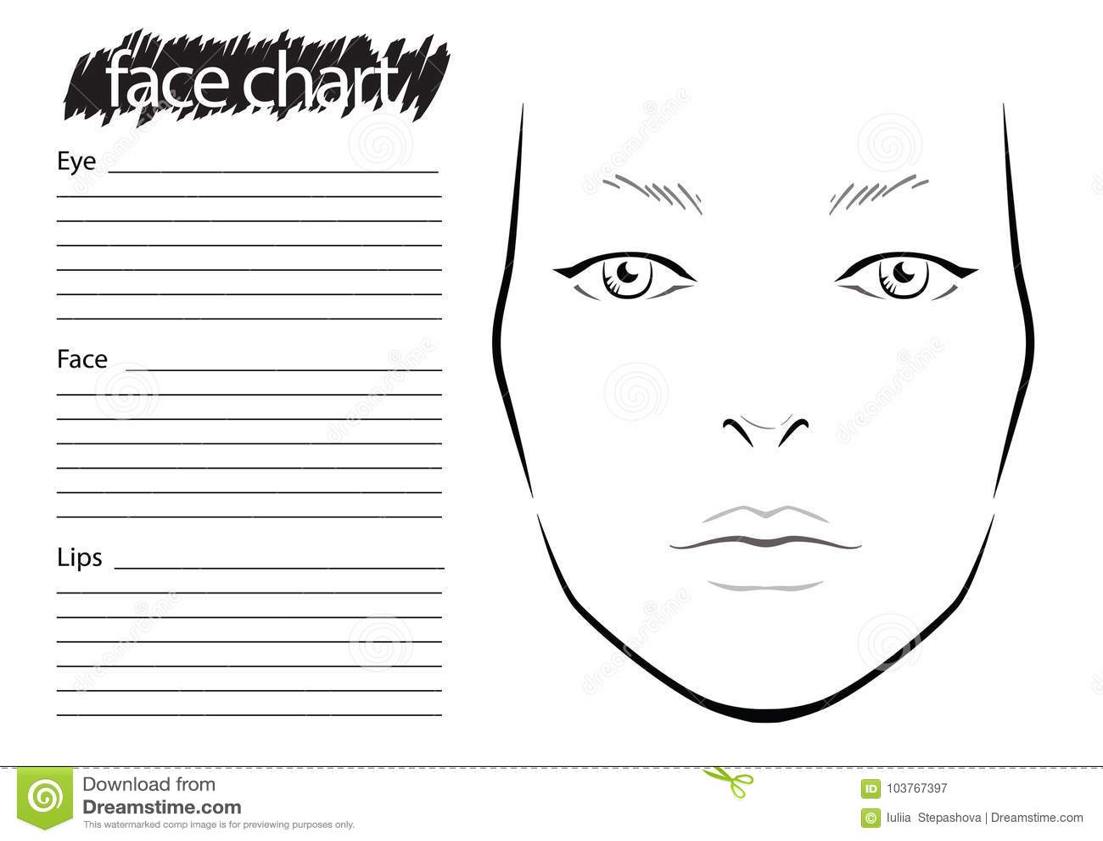 Face Chart Makeup Artist Blank Template Stock