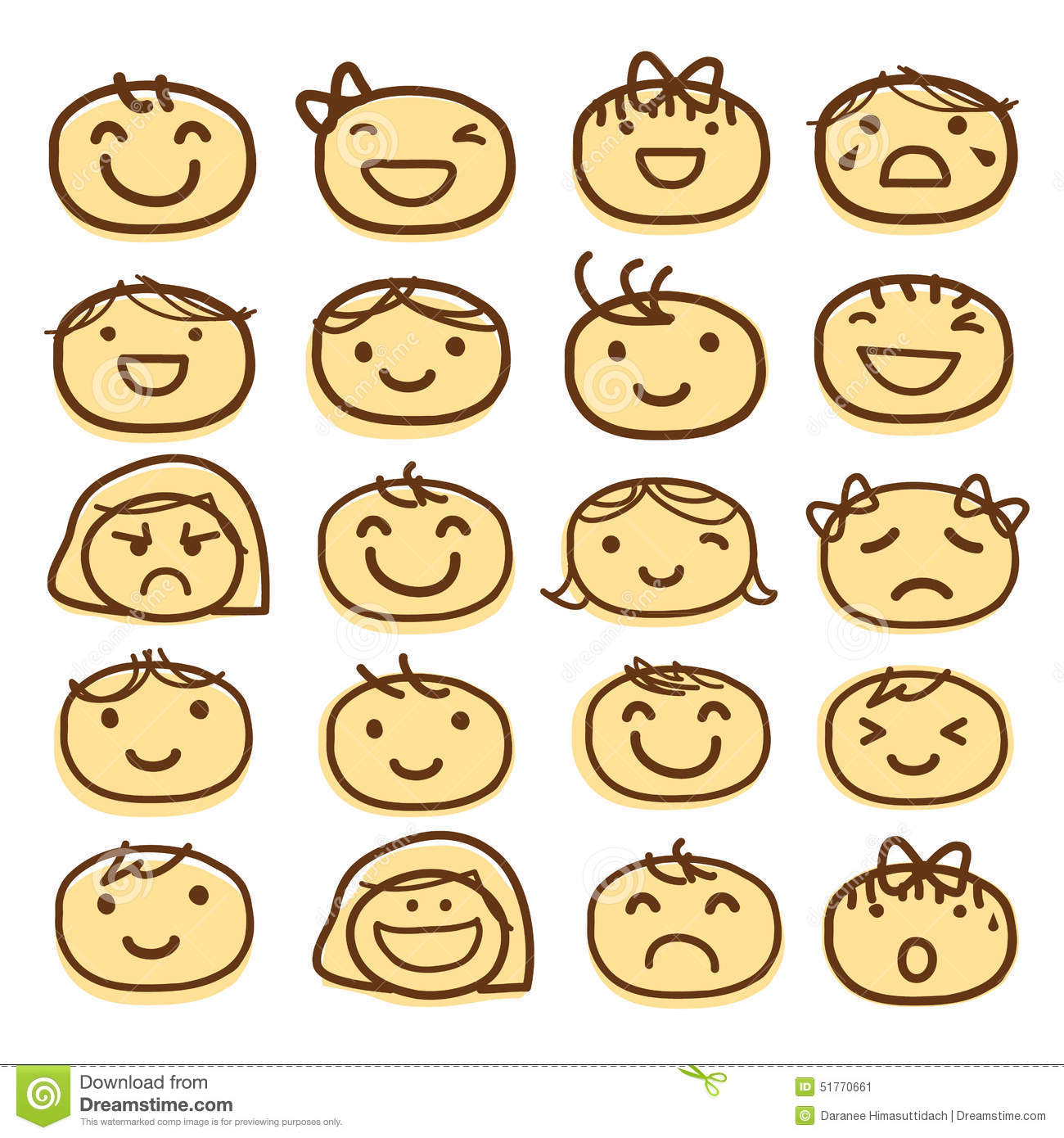 Face Kids Draw Emotion Feeling Icon Cute Cartoon Vector