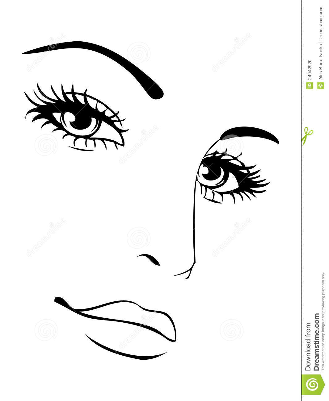 Face Sketch Lineart For Cosmetic Study Stock Illustration