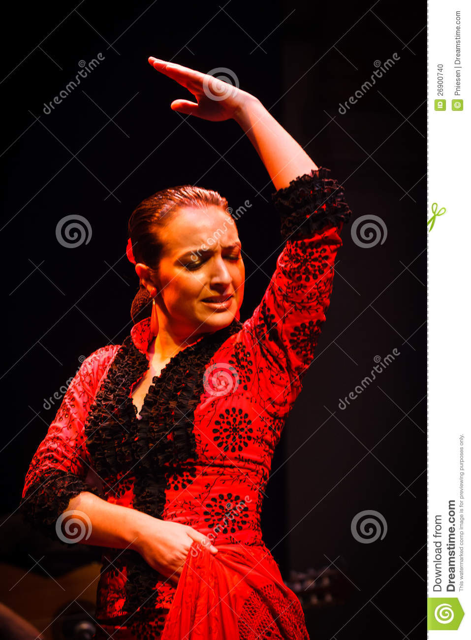 Face And Upper Body Flamenco Dancer In Red Dress Editorial