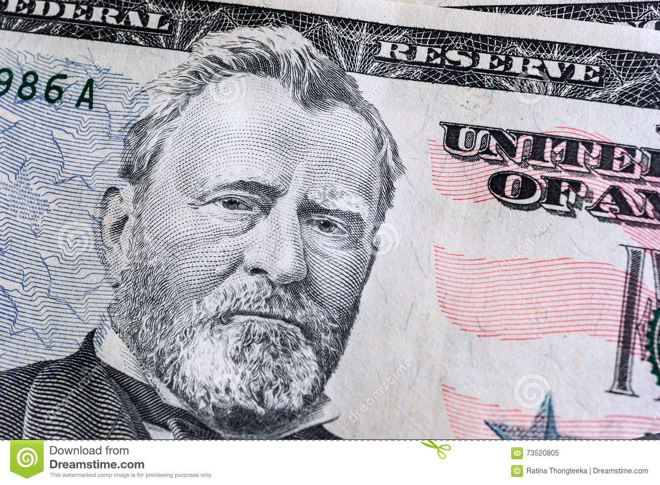 Face On Us Fifty Or 50 Dollars Bill Macro Banknotes