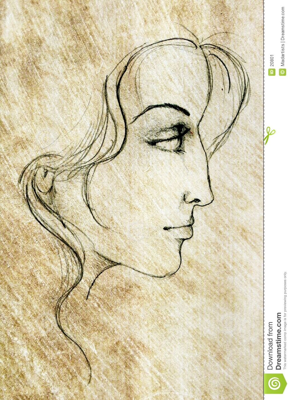 Woman Pencil Sketch : woman, pencil, sketch, Woman, Sketch, Drawing, Stock, Illustration, Features,, Drawing:, 20801