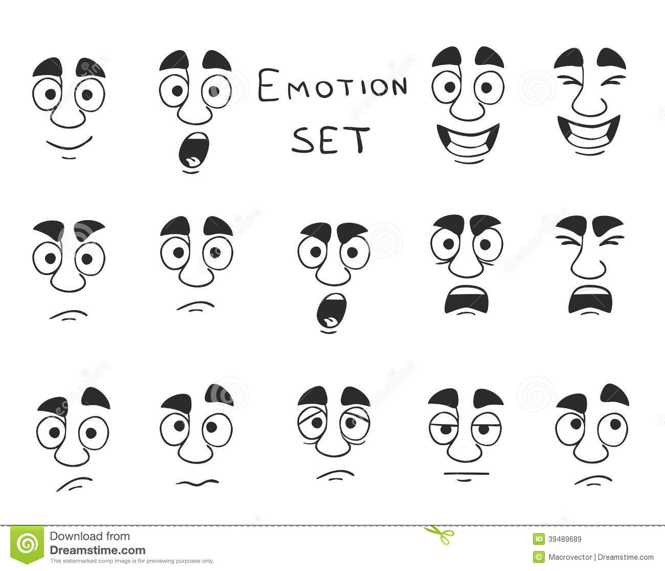 Facial Avatar Emotions Icons Set Stock Vector