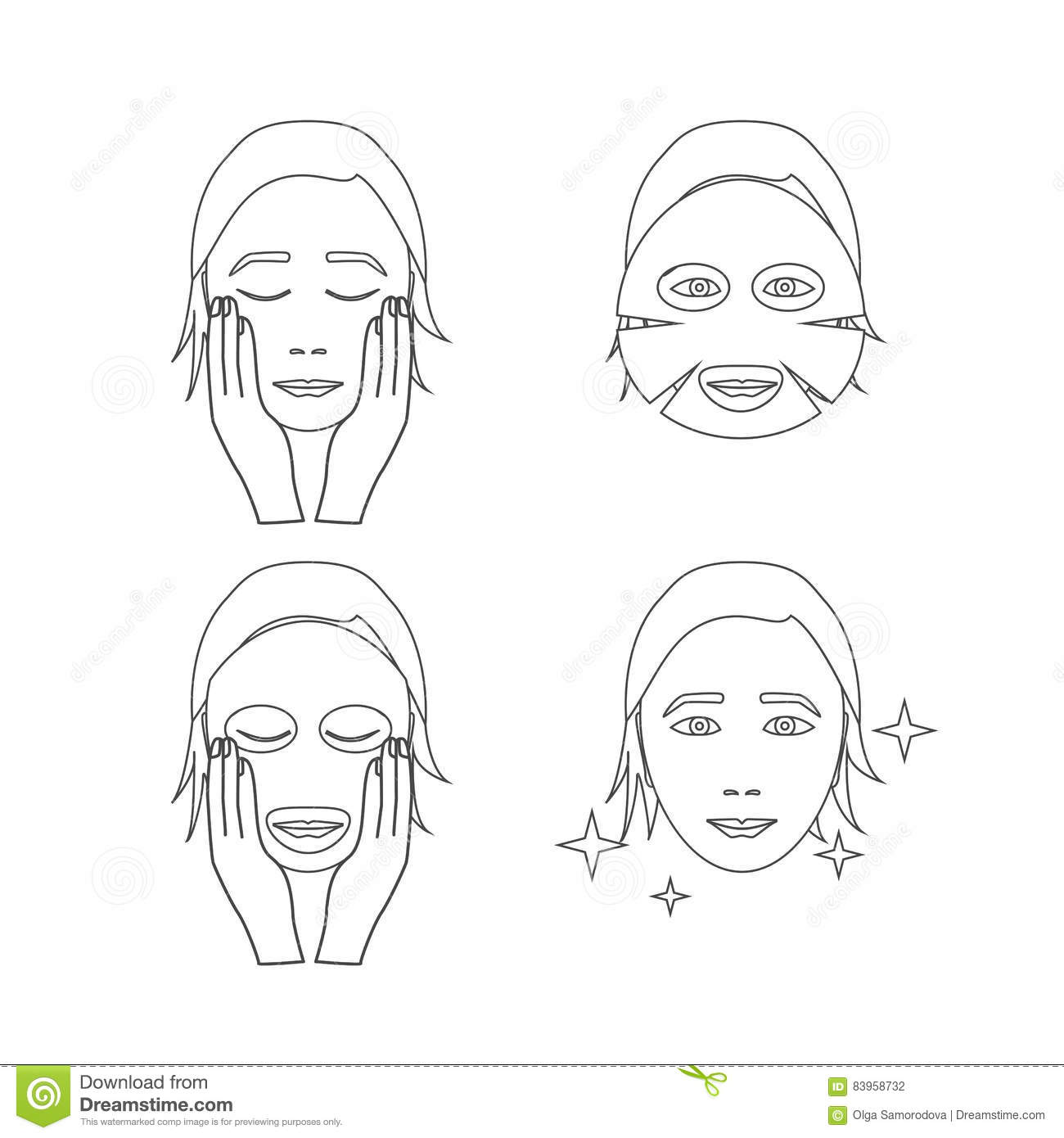 Facial Sheet Mask Outline. Vector Stock Vector