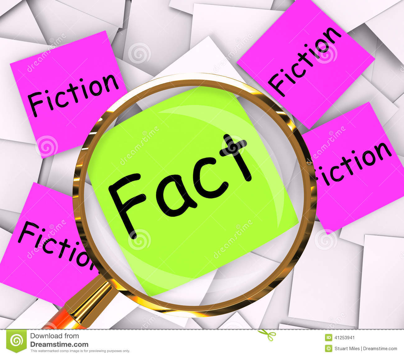 Fact Fiction Post It Papers Mean Truth Or Myth Stock