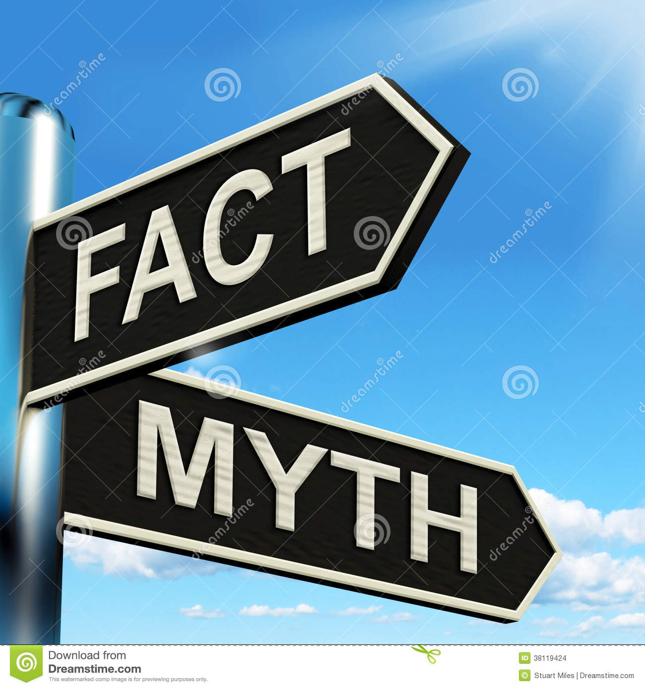 Fact Myth Signpost Means Correct Or Incorrect Information Stock Images  Image 38119424