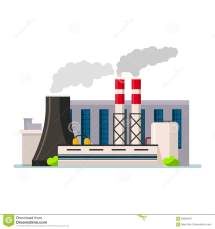 Factory Building Icon Vector Flat Style. Manufacturing