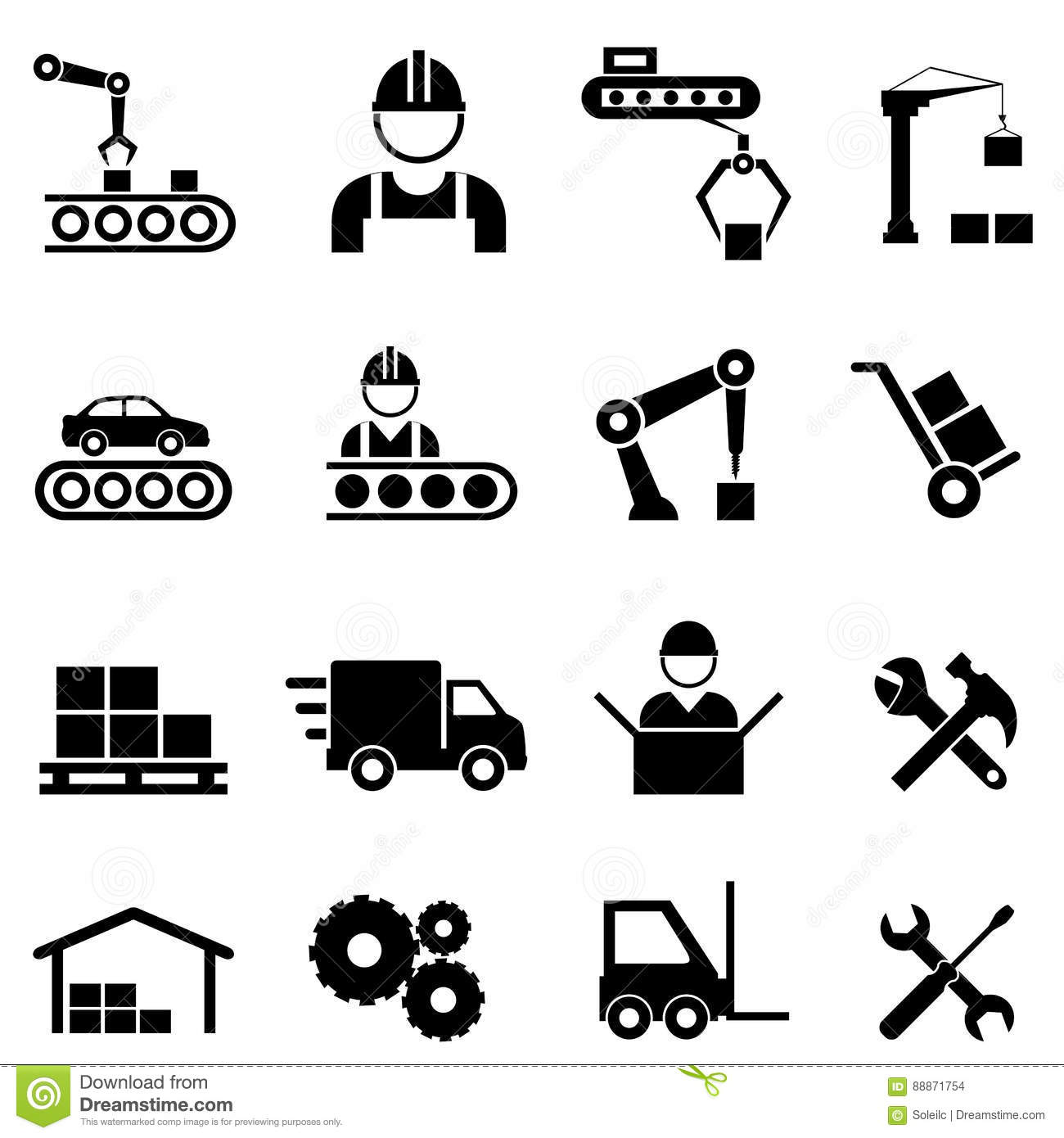 Factory And Manufacturing Industry Icons Stock Vector