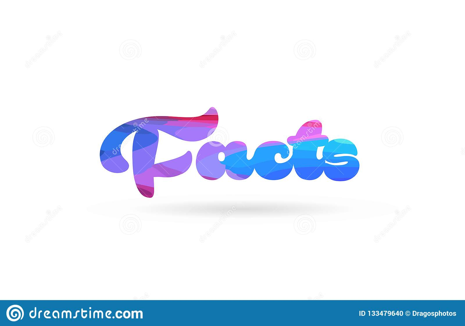Facts Pink Blue Color Word Text Logo Icon Stock Vector