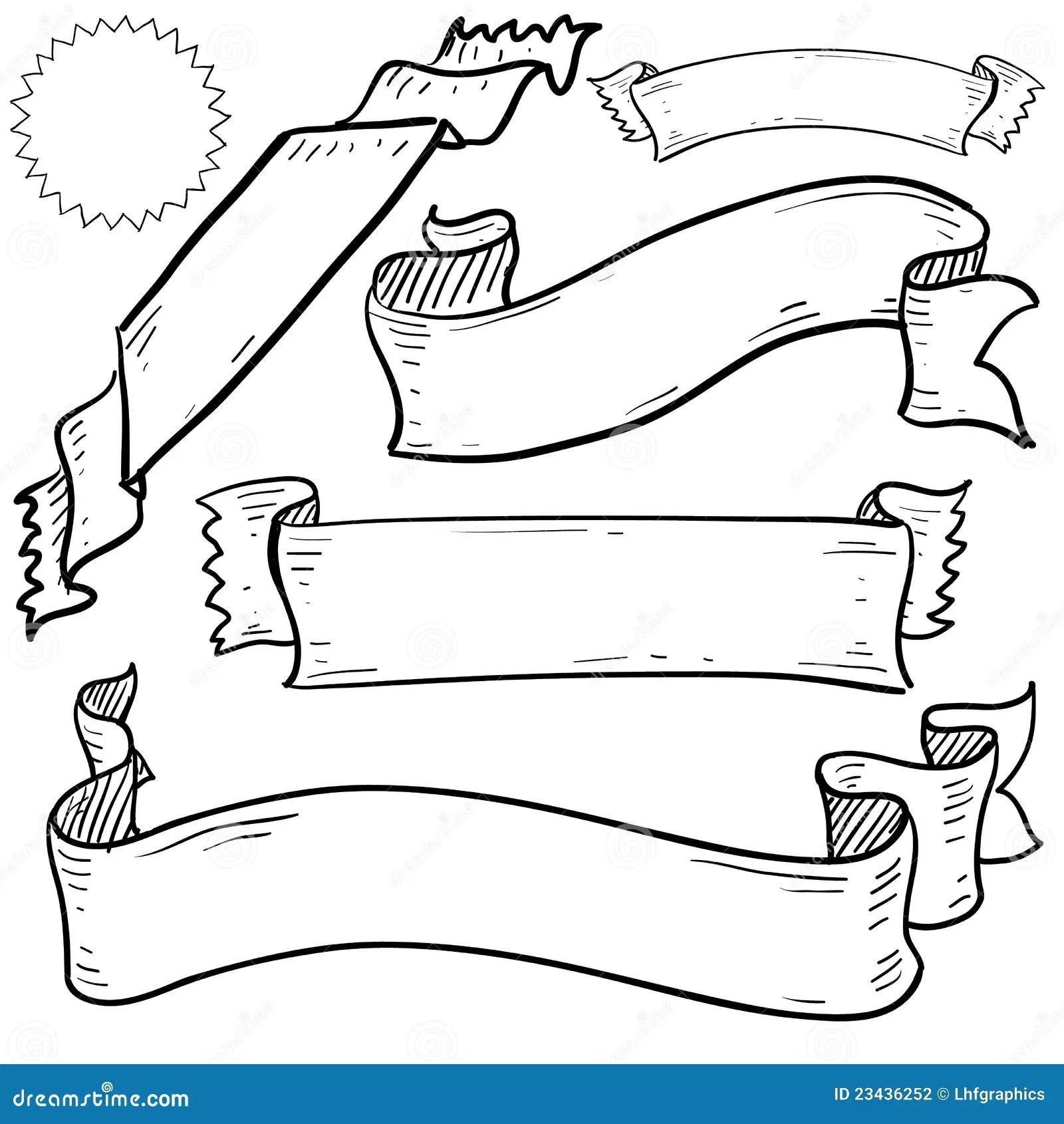 Fahnen Und Farbbandskizze Vektor Abbildung Illustration