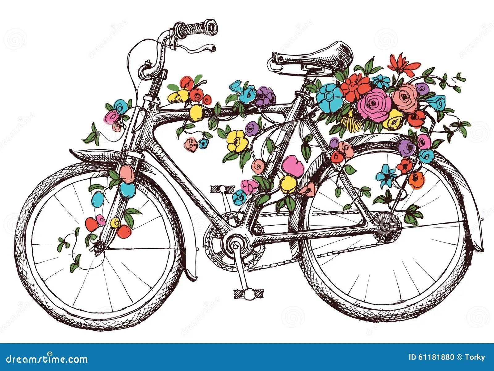 Fahrrad Mit Blumen Vektor Abbildung  Bild 61181880