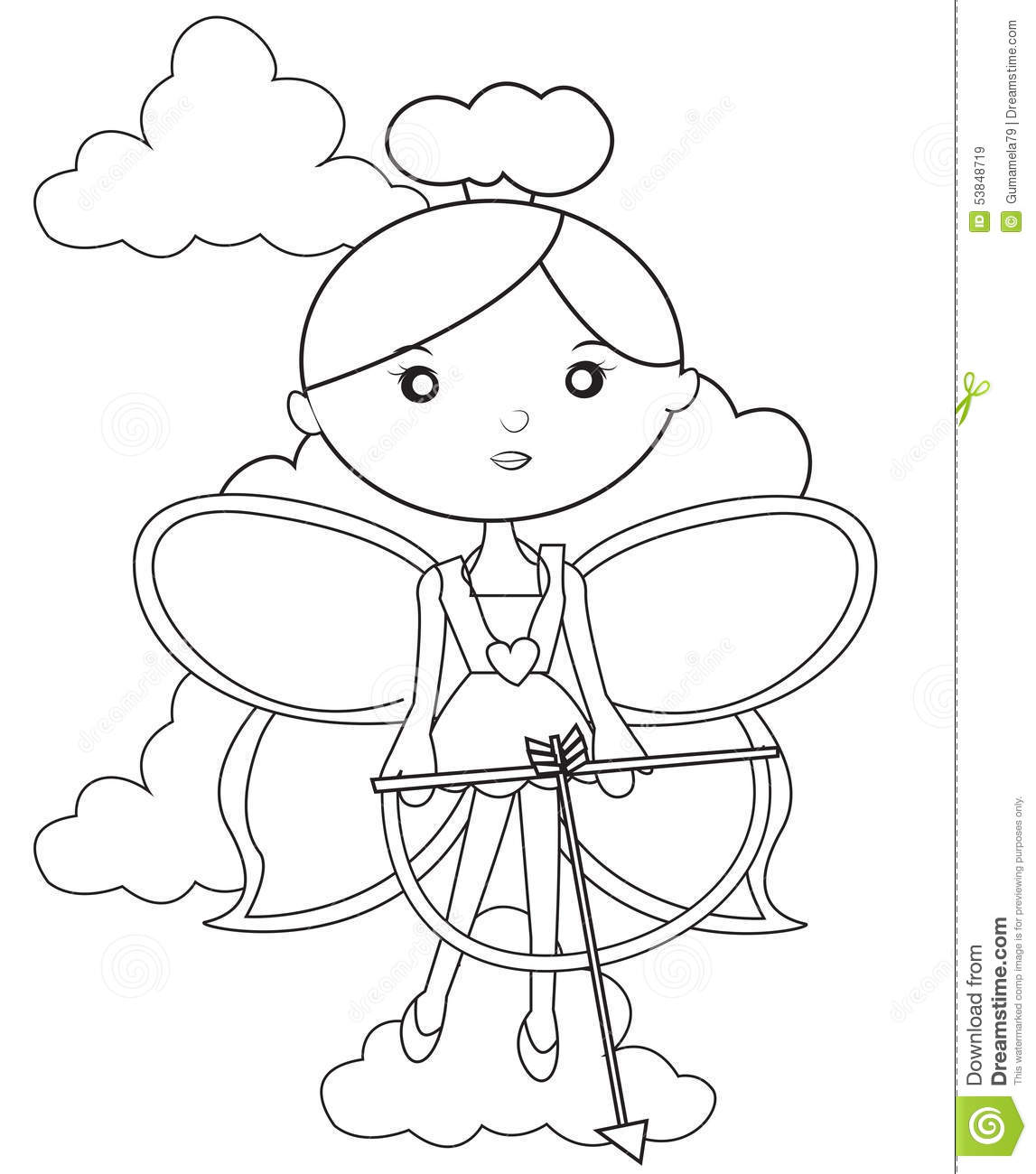 Fairy With A Bow And Arrow Coloring Page Stock