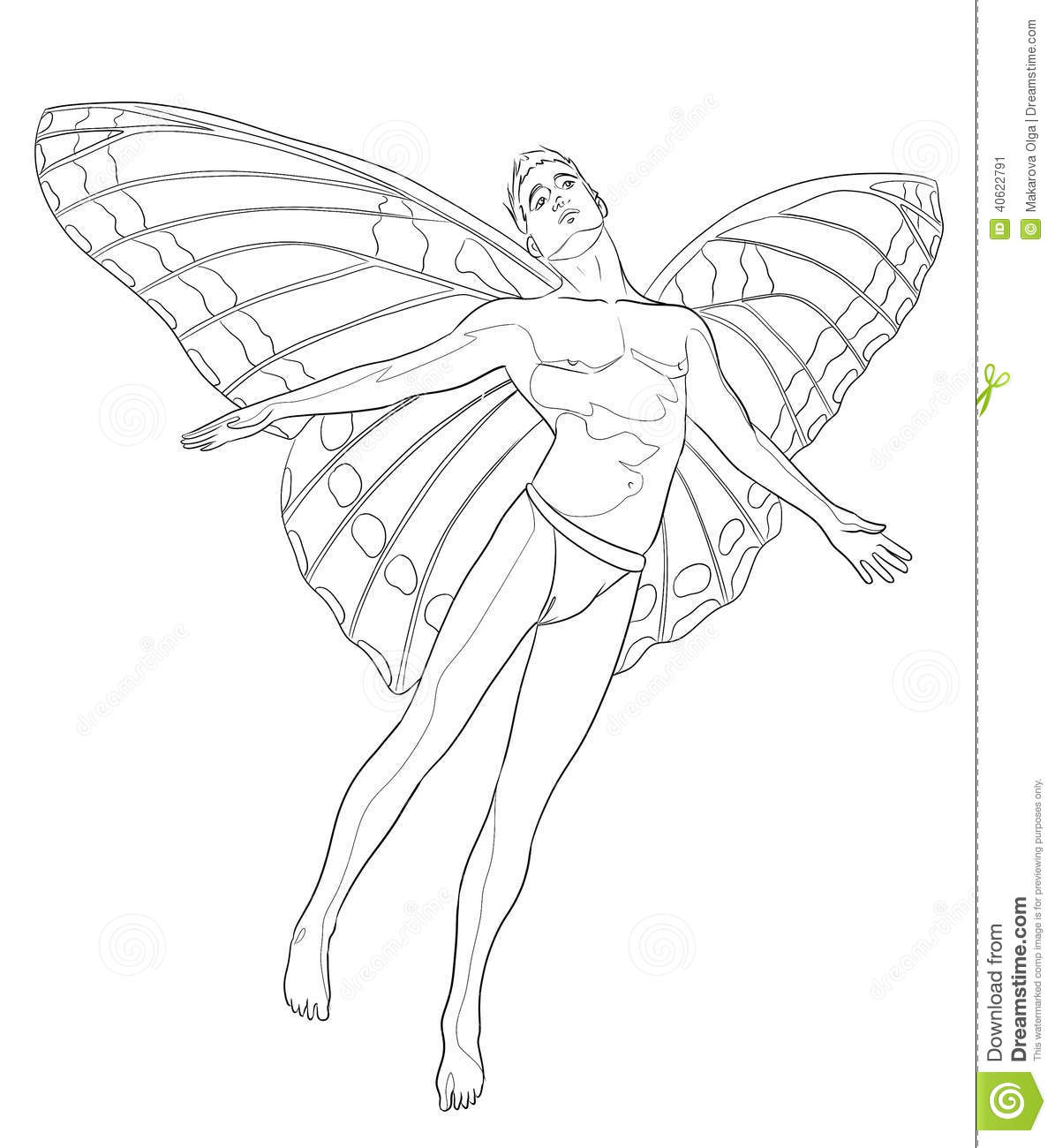 Fairy man coloring page stock illustration. Image of