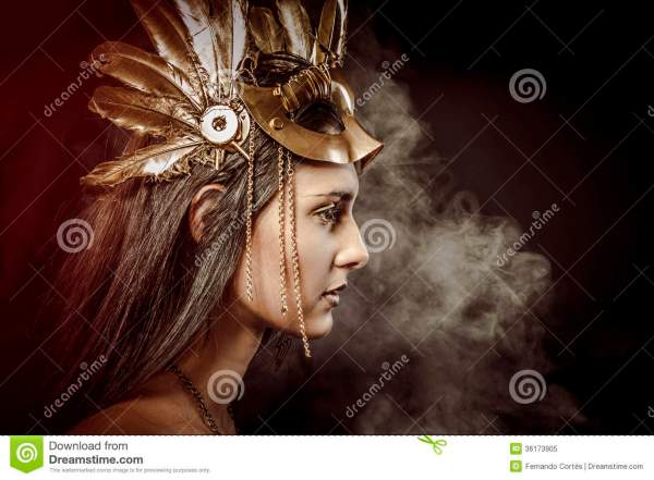 Fairy Queen Young With Golden Mask Ancient Goddess Royalty Free Stock - 36173905