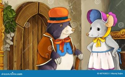 mole cartoon mouse fairytale scene illustration dressed children colorful mr preview anime