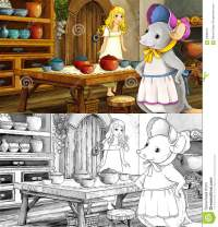 Fairytale Cartoon Scene With A Girl In The Kitchen With A ...
