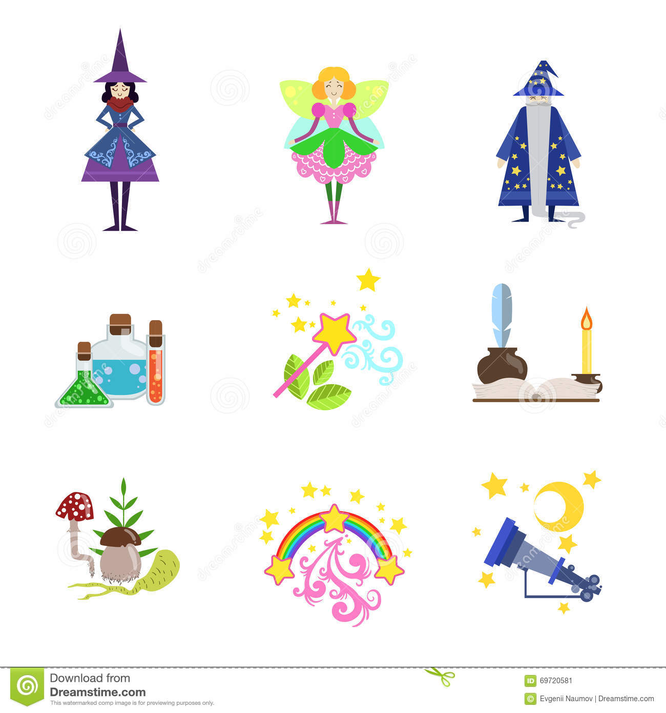 Fairytale Characters And Related To Them Objects Stock