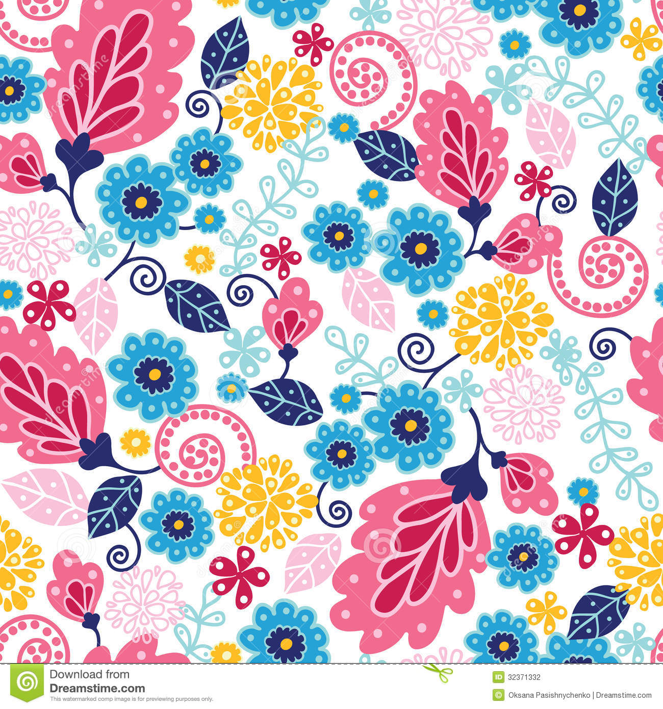 Fairytale Flowers Seamless Pattern Background Stock Vector