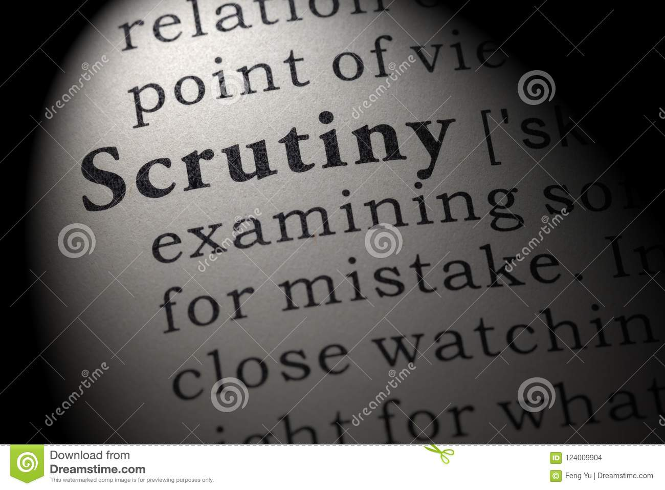 Definition of scrutiny stock photo. Image of book. close - 124009904