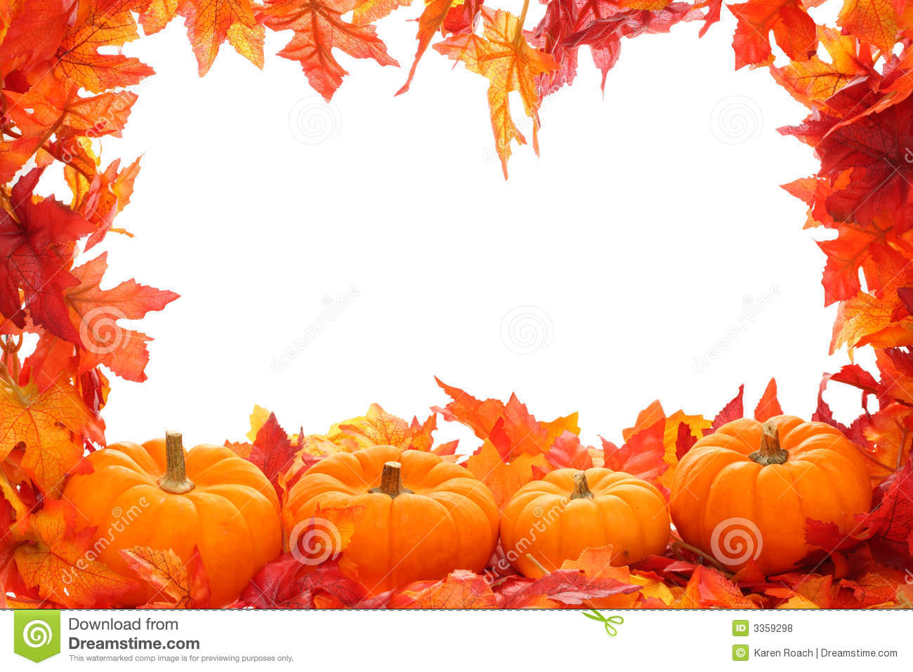 hight resolution of fall leaf border with pumpkins isolated on a white background