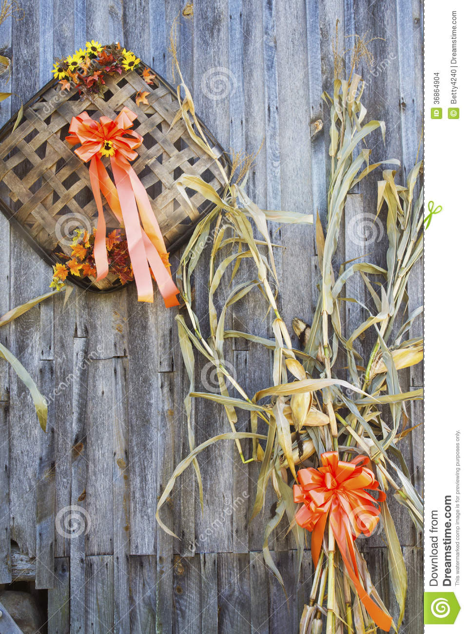Fall Decorations On The Side Of A Wooden Barn Stock Photo