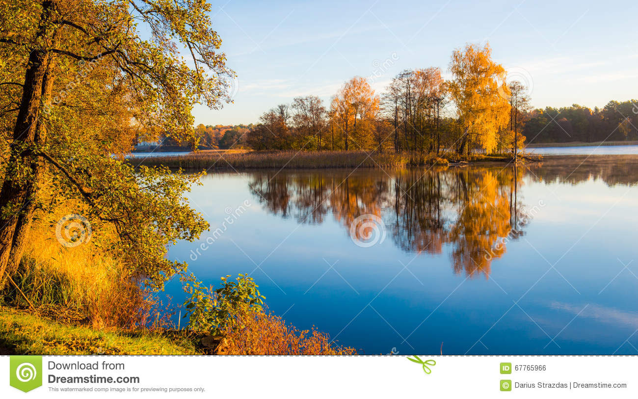 Colorful Fall Scene Wallpaper Fall Trees Reflection In Water Stock Photo Image Of