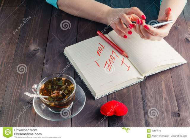 Famale write love sms stock image. Image of notepad, closeup