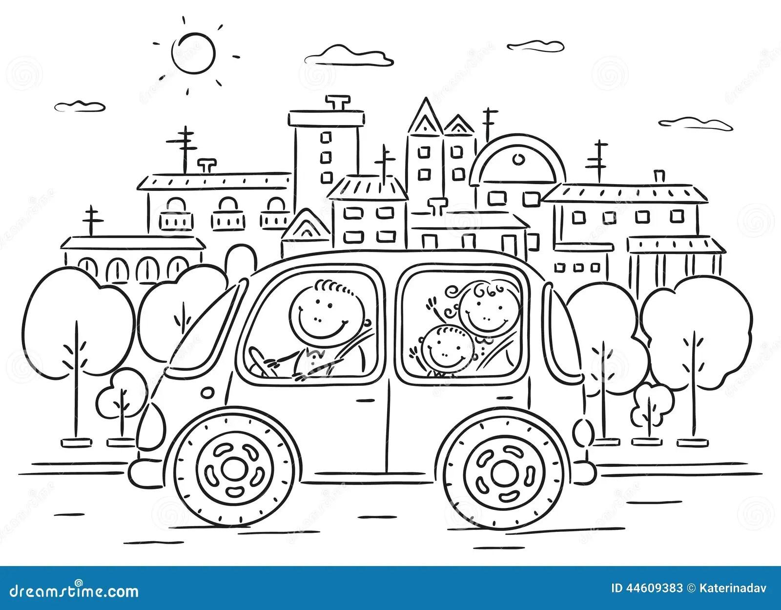 Familia Feliz Que Viaja Por Blanco Y Negro Automotriz