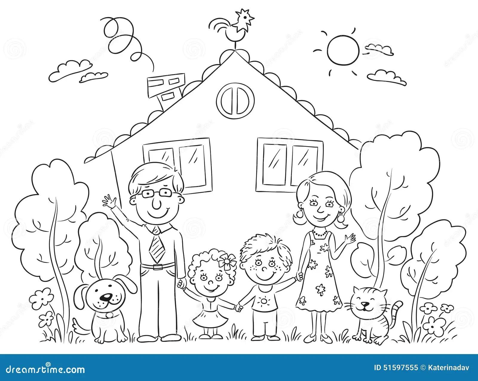 Familie Am Haus Entwurf Vektor Abbildung