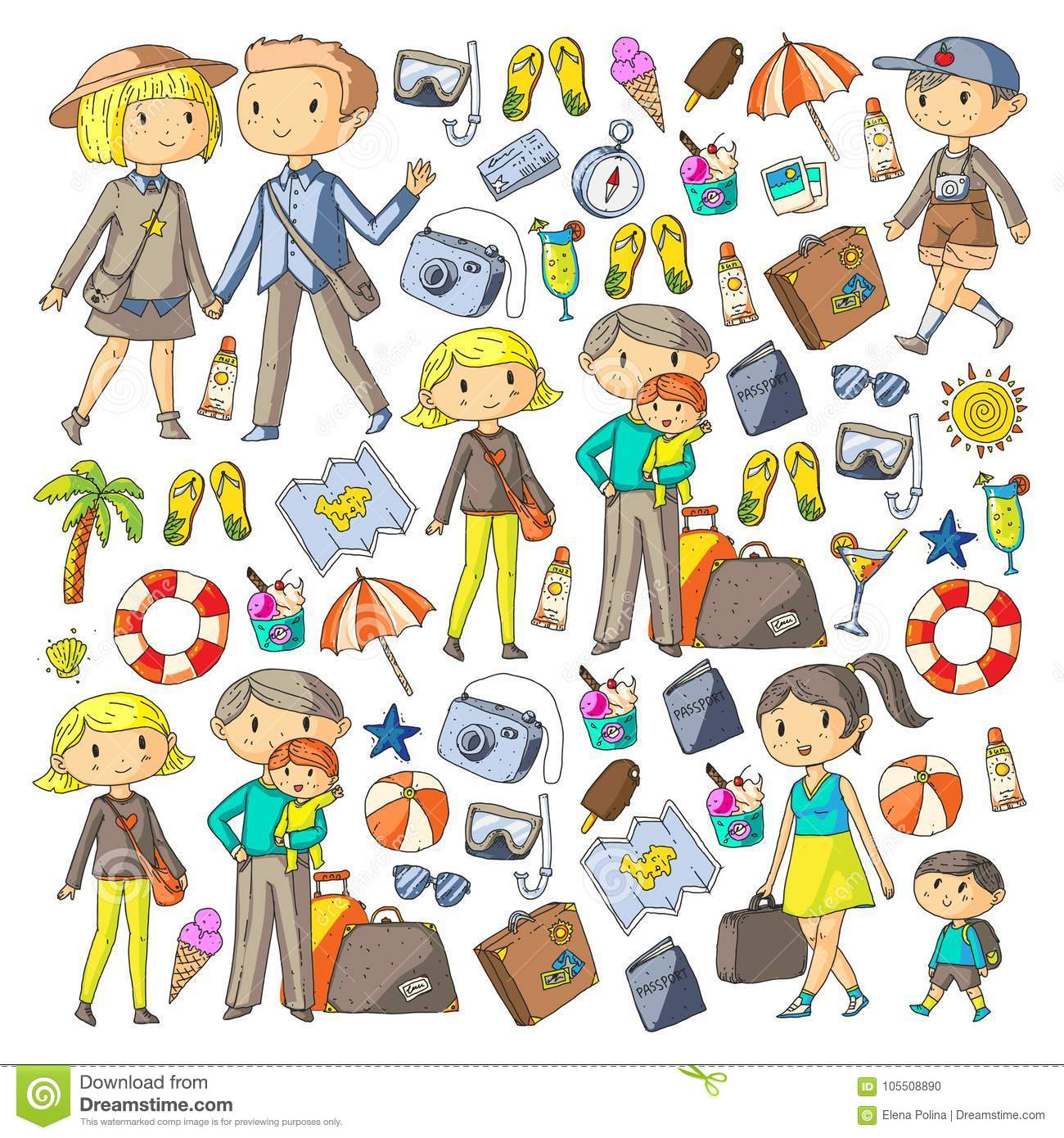 Family With Children Travel Mother Father Sister Brother Boys And Girls Kindergarten