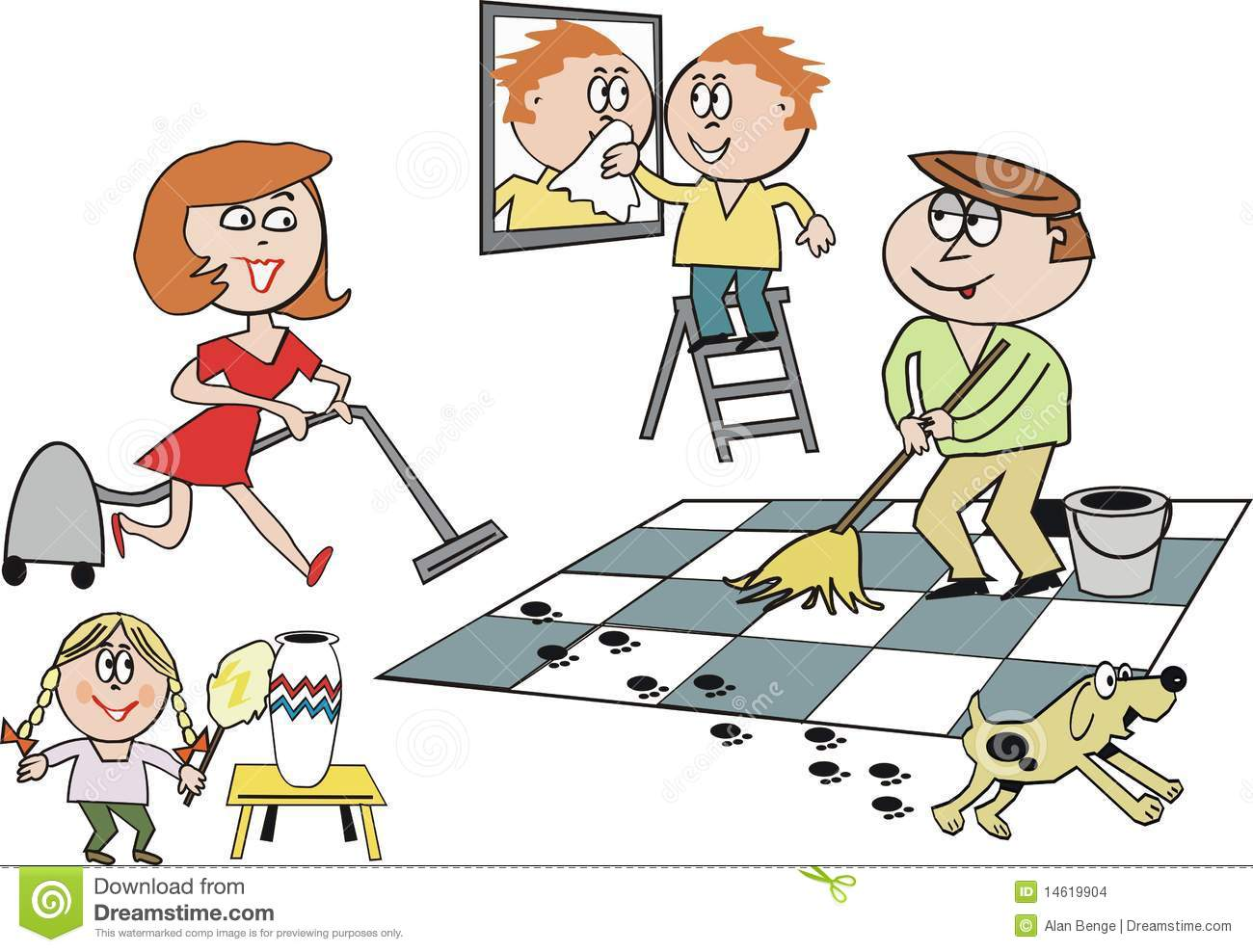 Family Cleaning Cartoon Stock Vector Illustration Of