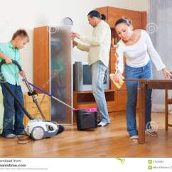 Clean Living Room Decorating Ideas For Shelves In Family Cleaning Stock Photo Image Of