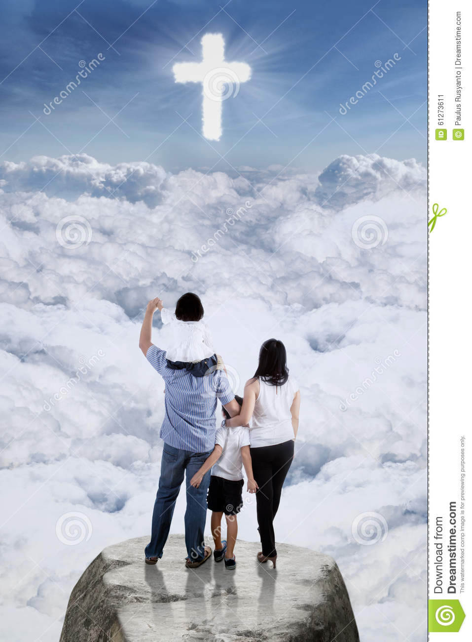 Family On The Cliff And Looking At The Cross Sign Stock Image  Image 61273611