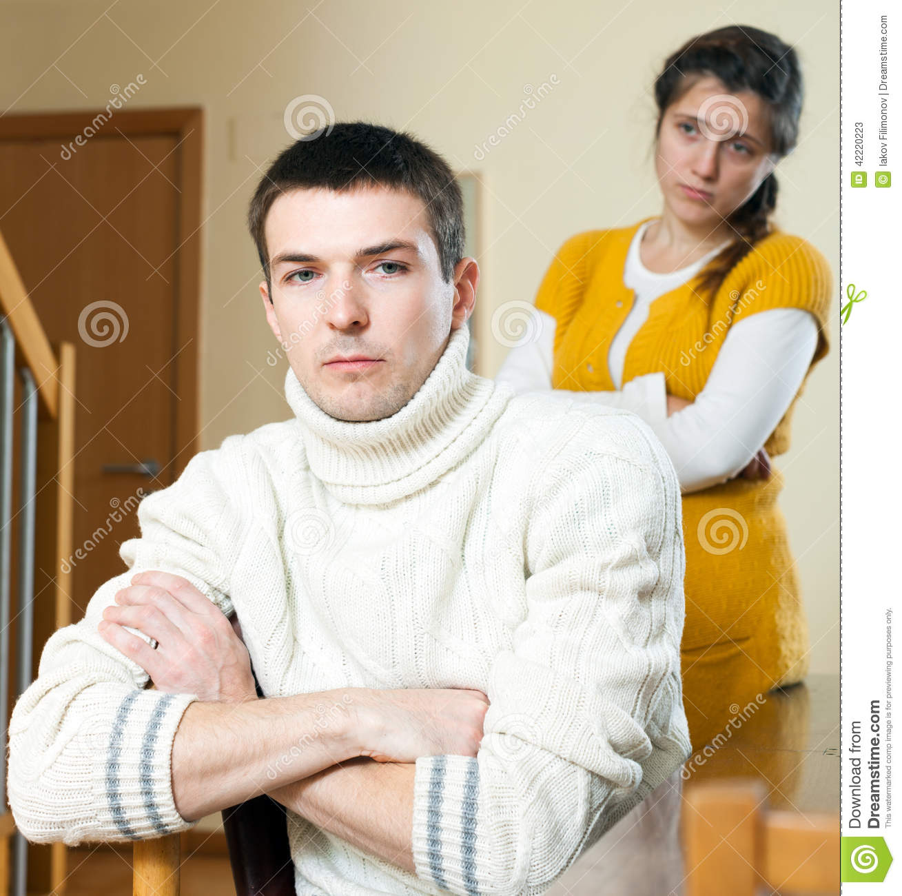 Family Conflict Sad Ordinary Man Listening To Woman Stock