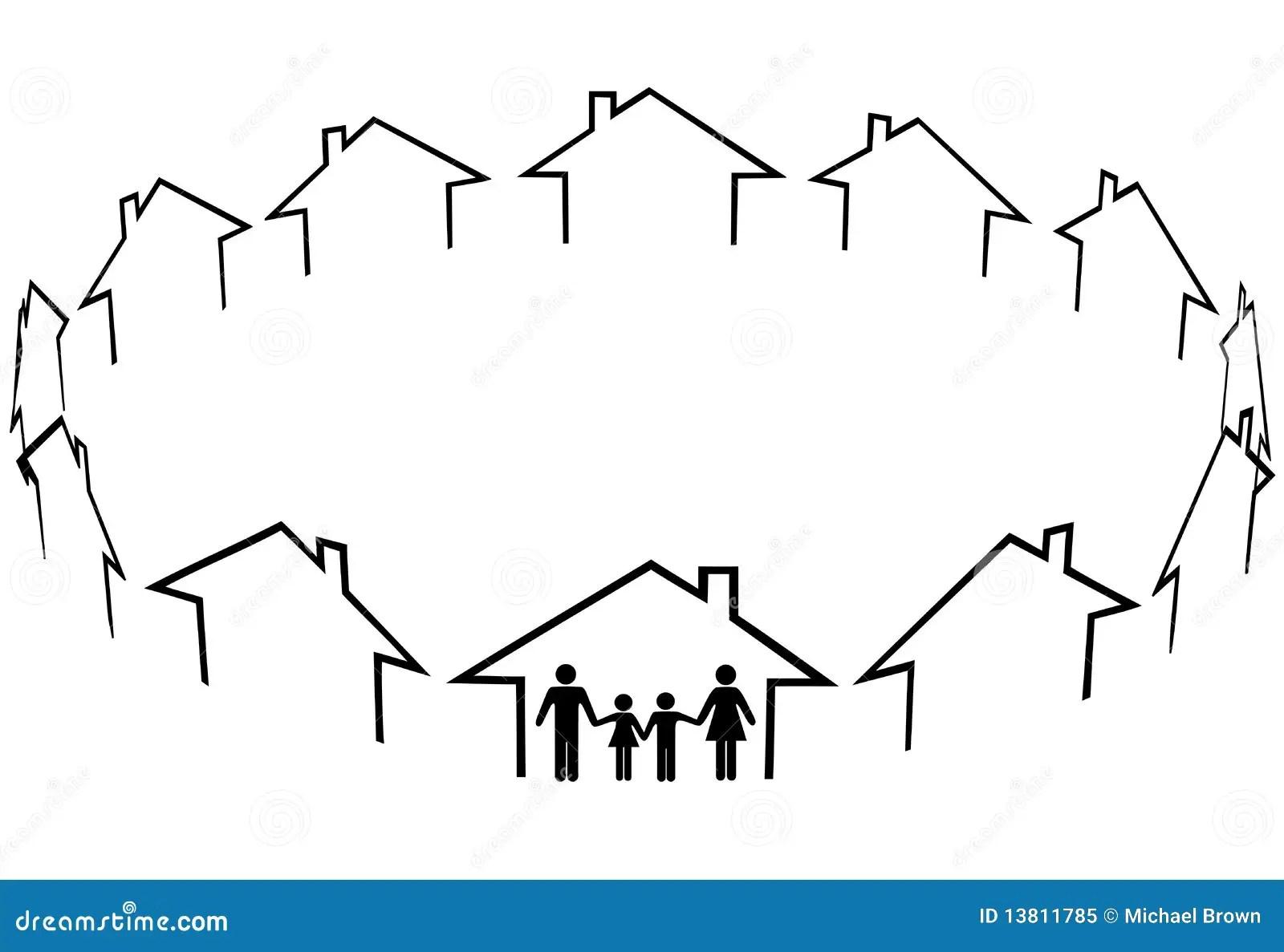 Family Find Home Community Neighbors Houses Stock Vector