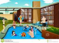 Family And Friends Spending Time In The Backyard Swimming ...
