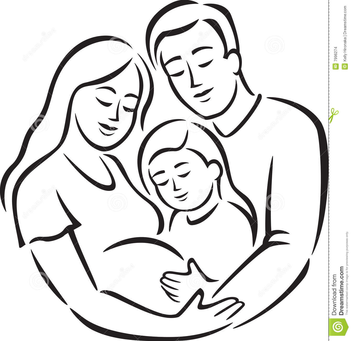 Family With Girl Line Art Stock Images