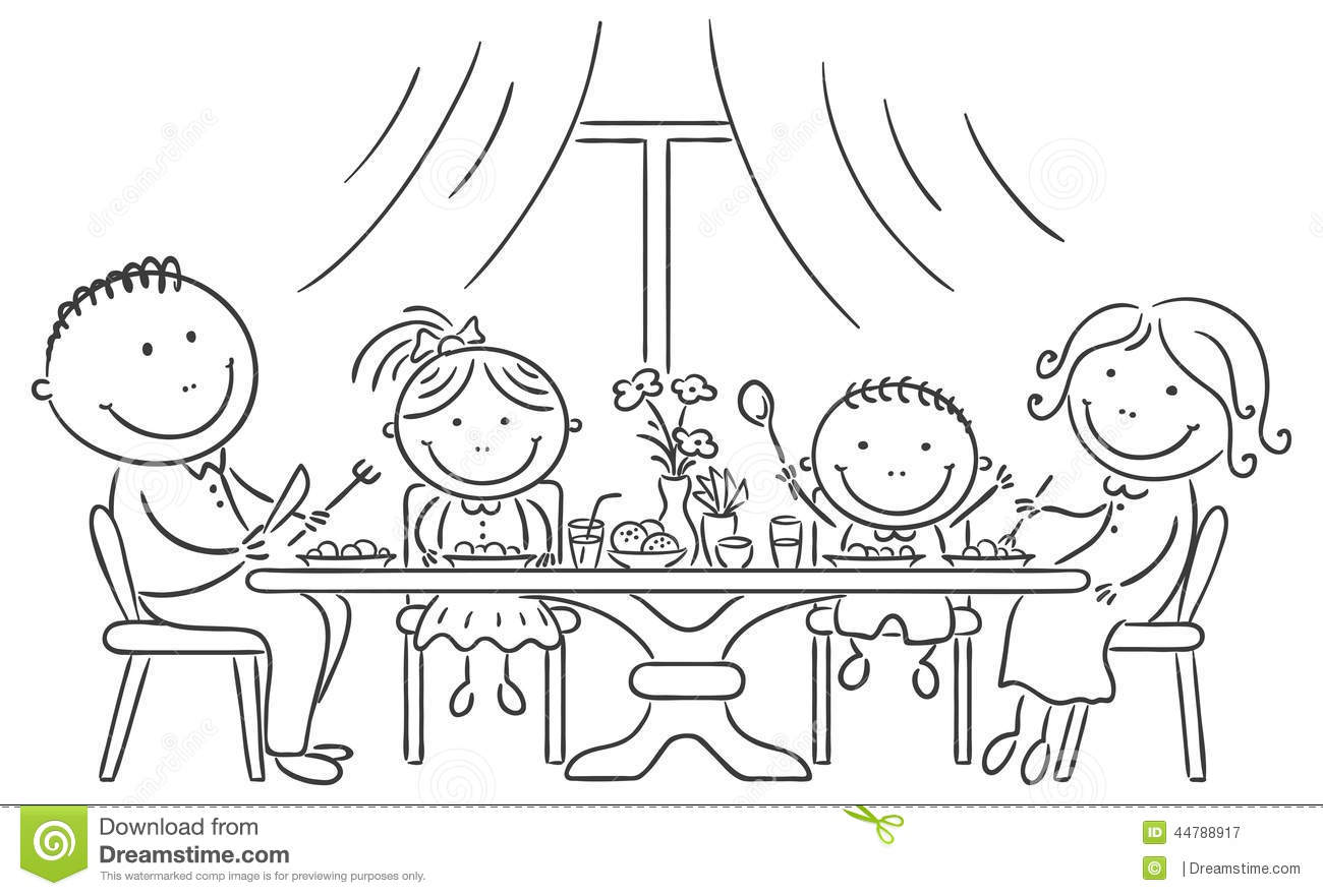Family Having Meal Together Stock Vector
