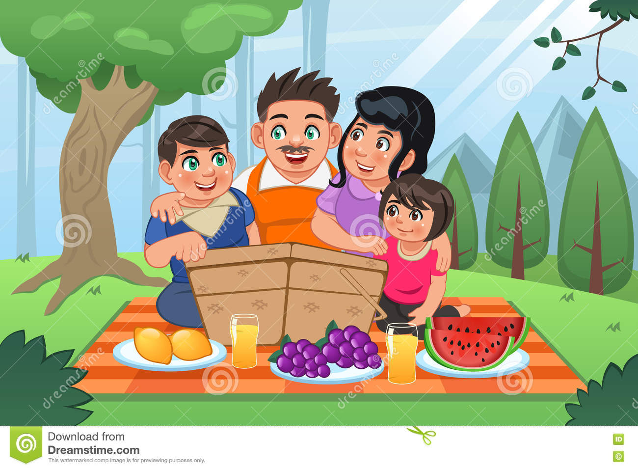 hight resolution of family having picnic together