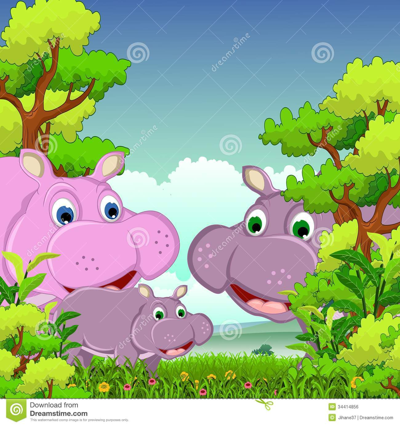 Beautiful Cute Cartoon Wallpapers Family Of Hippo Cartoon With Forest Background Royalty