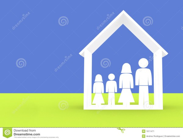Family Illustration - Home Insurance Stock