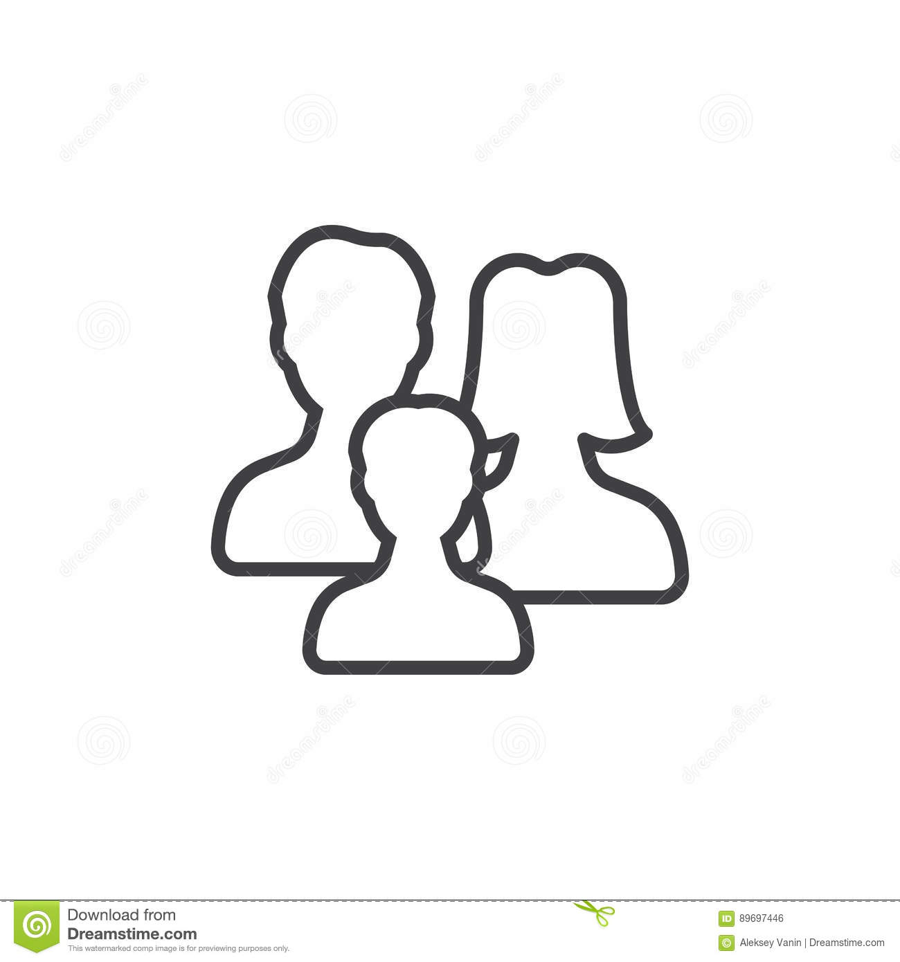 Family Line Icon, Outline Vector Sign Stock Vector