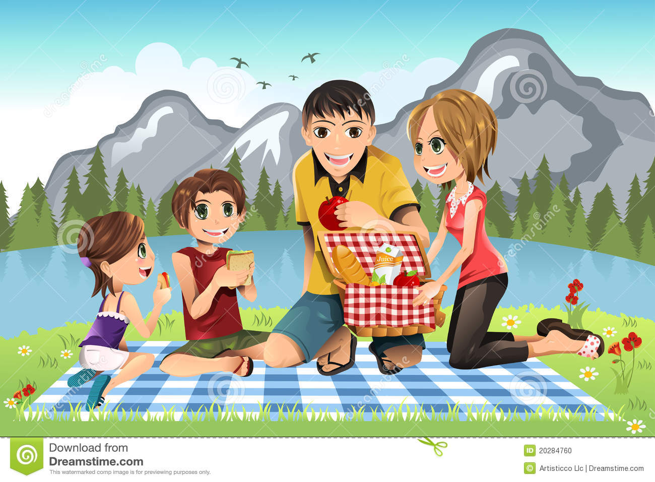 hight resolution of family picnic