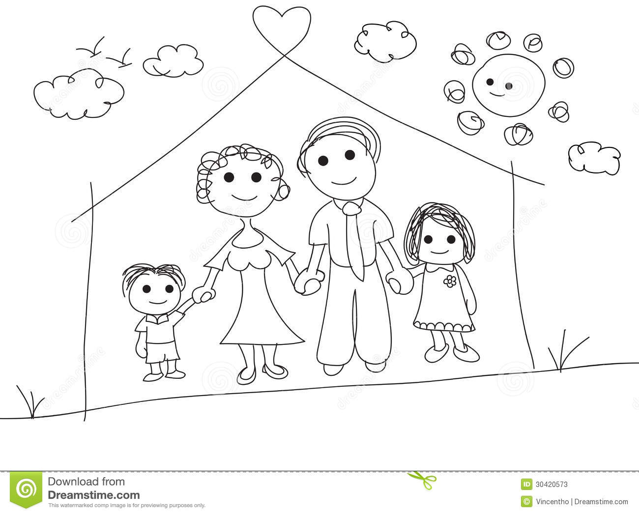 Family Portrait Scribble Doodle Sketch Drawing Illustration Stock Vector