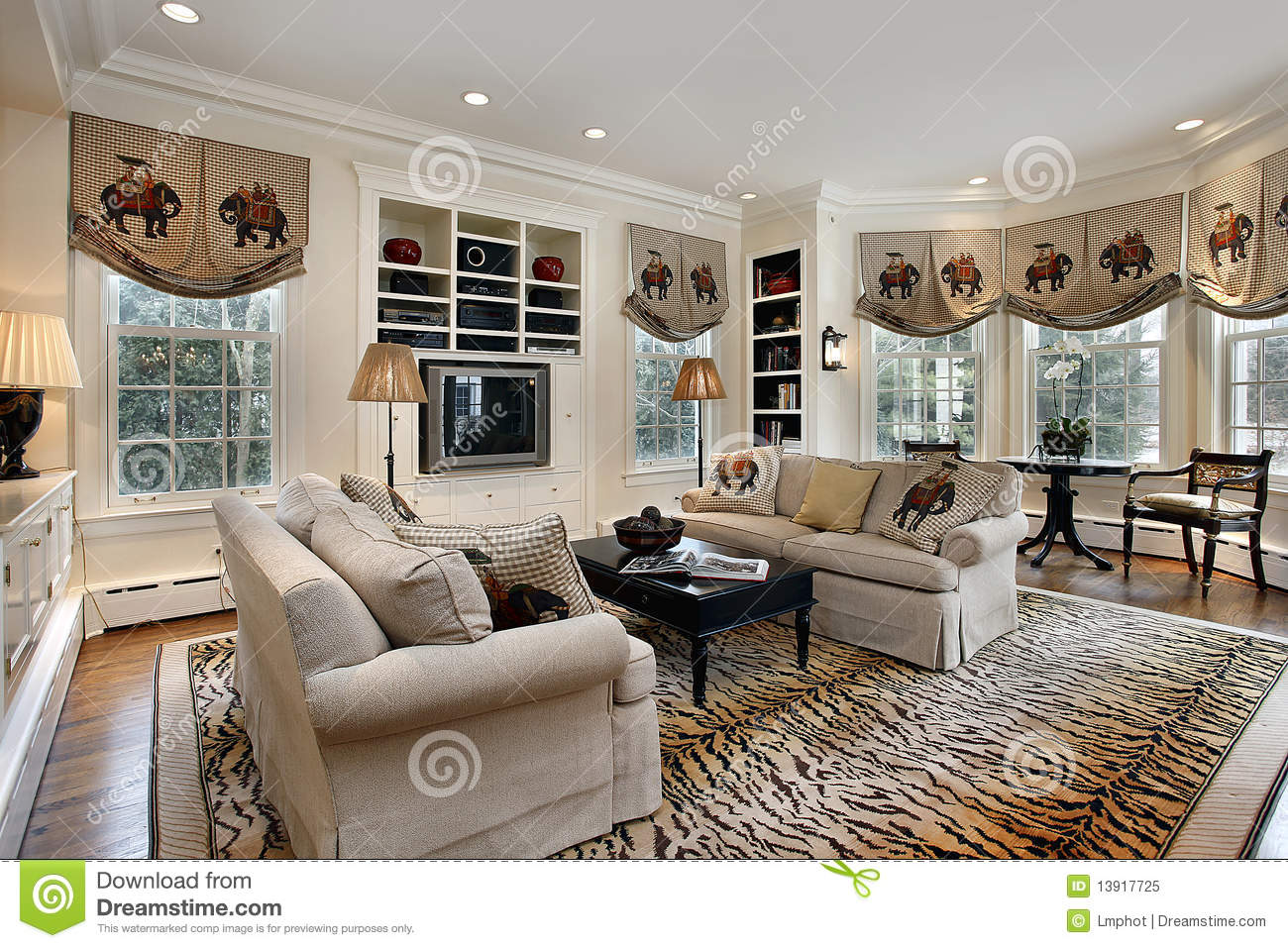 sofa table design plans chesterfield wigan sofascore family room with built in cabinets royalty free stock ...