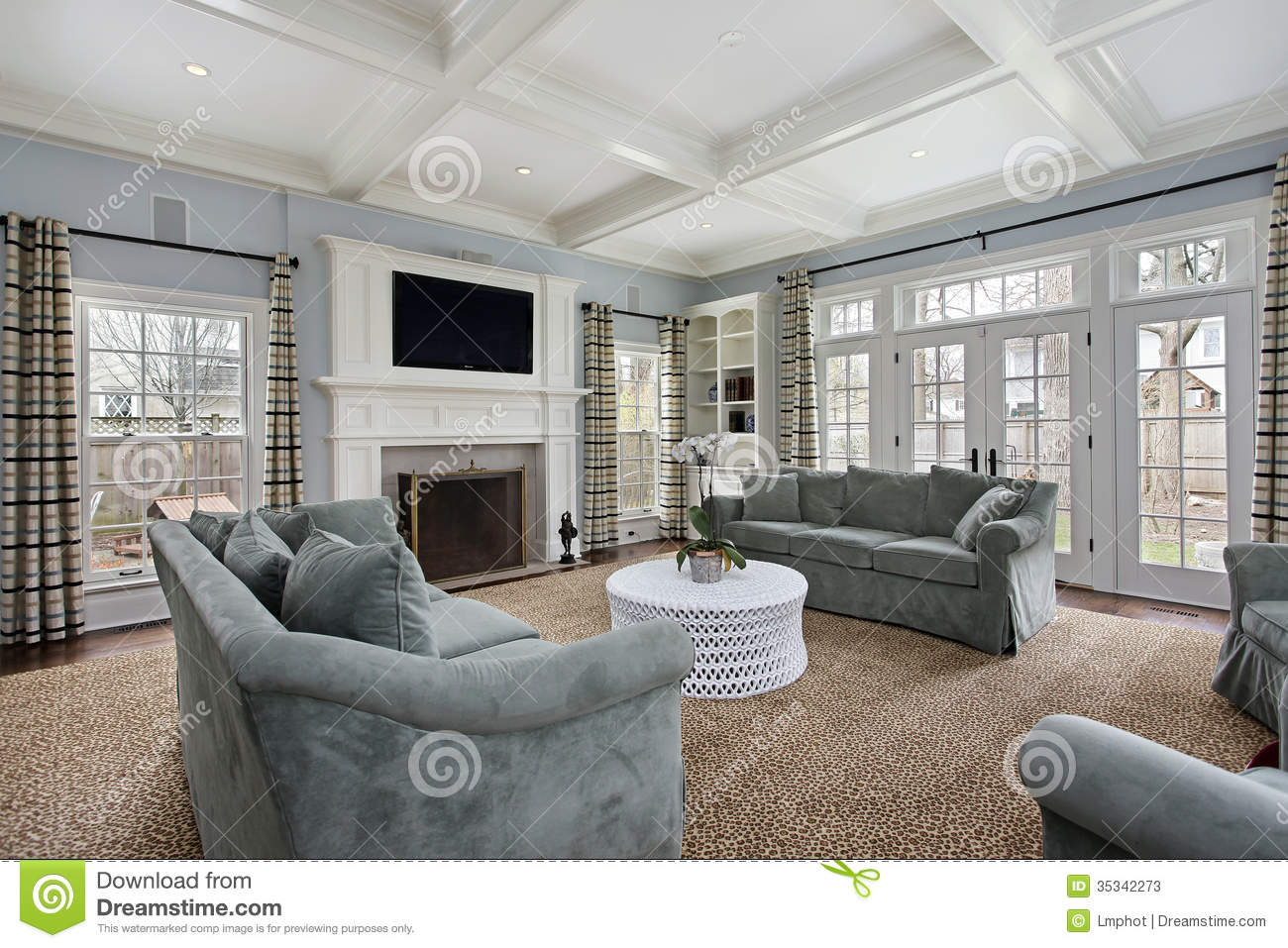 Family room with fireplace stock image. Image of family